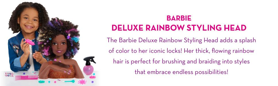 Barbie Rainbow Sparkle Deluxe Styling Head Curly Hair Walmart Com Walmart Com